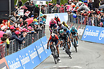 Vincenzo Nibali (ITA) Bahrain-Merida leads out the main contenders towards the finish line at the end of Stage 14 of the 2019 Giro d'Italia, running 131km from Saint-Vincent to Courmayeur (Skyway Monte Bianco), Italy. 25th May 2019<br /> Picture: Massimo Paolone/LaPresse | Cyclefile<br /> <br /> All photos usage must carry mandatory copyright credit (© Cyclefile | Massimo Paolone/LaPresse)