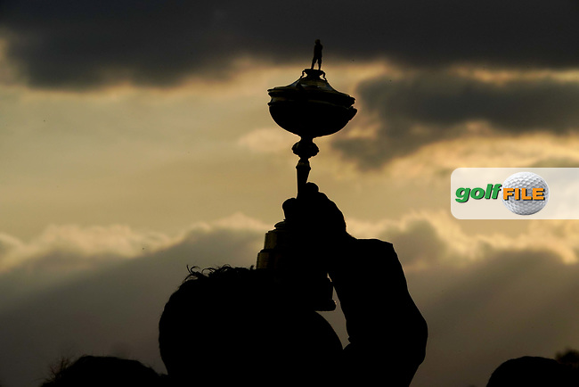 the Ryder Cup held aloft after team Europe won at the Ryder Cup, Le Golf National, Iles-de-France, France. 30/09/2018.<br /> Picture Claudio Scaccini / Golffile.ie<br /> <br /> All photo usage must carry mandatory copyright credit (© Golffile | Claudio Scaccini)