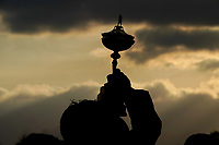 the Ryder Cup held aloft after team Europe won at the Ryder Cup, Le Golf National, Iles-de-France, France. 30/09/2018.<br /> Picture Claudio Scaccini / Golffile.ie<br /> <br /> All photo usage must carry mandatory copyright credit (&copy; Golffile | Claudio Scaccini)