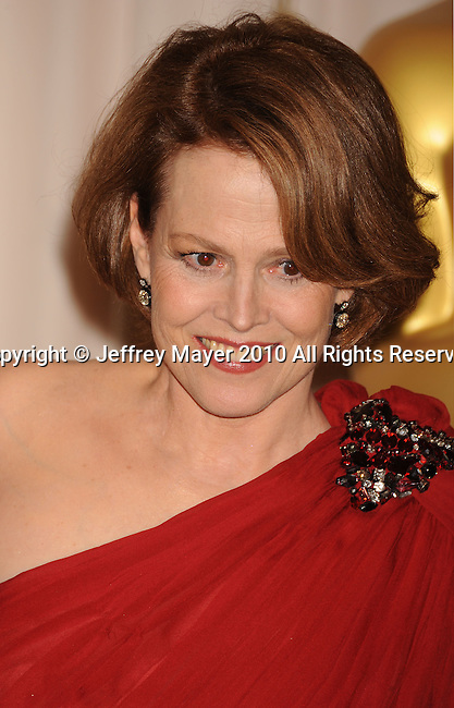 HOLLYWOOD, CA. - March 07: Presenter/Actress Sigourney Weaver  poses in the press room at the 82nd Annual Academy Awards held at the Kodak Theatre on March 7, 2010 in Hollywood, California.