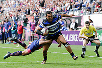 Robbie Fruean of Bath Rugby runs in a second half try. European Rugby Challenge Cup Semi Final, between Stade Francais and Bath Rugby on April 23, 2017 at the Stade Jean-Bouin in Paris, France. Photo by: Patrick Khachfe / Onside Images