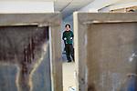 2.3.2016, Berlin.  Jewish painter Alexander iskin in his studio in Berlin Marienfelde (Studio Weiße Spedition). Alexander immigrated with his parents from Moskow at the age of 2 to Niedersachsen in Germany. Project The Jew Next Door