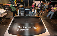 April 11 2019. San Diego, CA. USA|  Qualcomm's Senoir Staff Support Engineer  talks about Qualcomms  snapdragon concept car in their test facility. |  Photos by Jamie Scott Lytle. Copyright.