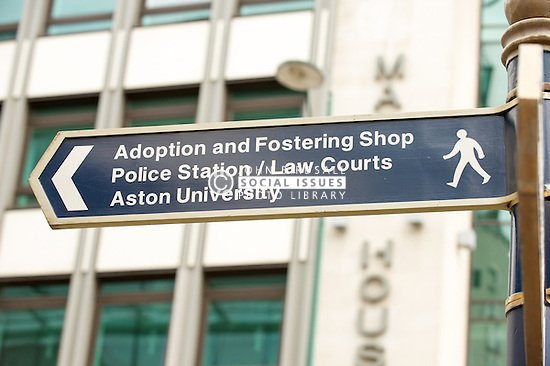 Public street signs to Birmingham Law courts
