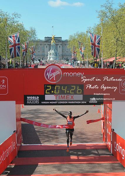 Wilson Kipsang (KEN) wins the mens race. Virgin Money London Marathon. London. UK. 13/04/2014. MANDATORY Credit Garry Bowden/Sportinpictures - NO UNAUTHORISED USE - 07837 394578