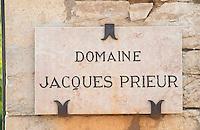 """Vineyard. Grand Montrachet, Domaine Jacques Prieur. """"Le Montrachet"""" Grand Cru, Puligny Montrachet, Cote de Beaune, d'Or, Burgundy, France"""