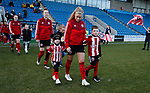 Olivia Ferguson of Sheffield Utd walks out with her relatives  during the The FA Women's Championship match at the Proact Stadium, Chesterfield. Picture date: 8th December 2019. Picture credit should read: Simon Bellis/Sportimage