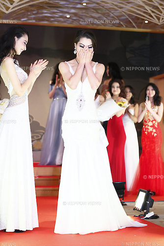 Miss Grand Japan 2015 winner Ayaka Tanaka reacts during the Miss Grand Japan 2015 contest in Tokyo on August 24, 2015. The 25-year-old nurse from Saitama will represent Japan in the Miss Grand International 2015 contest to be held in Thailand later this year. (Photo by AFLO)