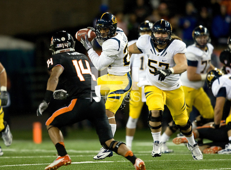 Isi Sofele of California catches the ball in the air during the game against Oregon State Beavers at Reser Stadium in Corvallis, Oregon on November 17th, 2012.  Oregon State defeated California, 62-14.