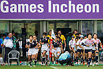Japan plays Hong Kong during the17th Asian Games 2014 Rugby Womens Sevens tournament on October 02, 2014 at the Namdong Asiad Rugby Field in Incheon, South Korea. Photo by Alan Siu / Power Sport Images