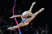 September 21, 2011; Montpellier, France;  EVGENIYA KANAEVA of Russia performs with ribbon at 2011 World Championships.
