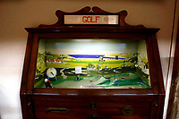 Vintage wooden table golf<br /> Antique toys exposed at Palazzo Braschi during the Exhibition 'For fun. Collection of antique toys of Capitoline Superintendency'.<br /> Rome (Italy), July 24th 2020