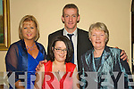 6617-6620.Club Social - Having a wonderful time at the Listowel Emmets GAA Club Social held in The Listowel Arms Hotel on Saturday night were l/r Sarah Morriarty, Peggy Browne and Nora Morriarty with Club Chairman Mike Kennelly at the back...................................................................................................................... ............