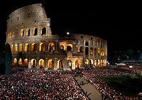 A view of the Colosseum during the Via Crucis (Way of the Cross) presided by Pope Francis on Good Friday in Rome, April 19, 2019.<br /> UPDATE IMAGES PRESS/Riccardo De Luca<br /> <br /> STRICTLY ONLY FOR EDITORIAL USE