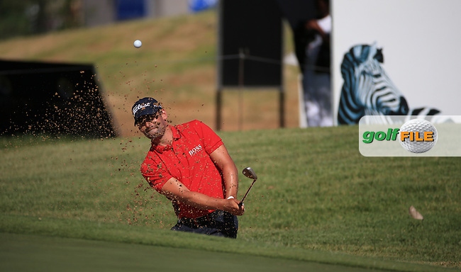 Lee Slattery (ENG) from the bunker on the 15th during Round Two of the 2016 BMW SA Open hosted by City of Ekurhuleni, played at the Glendower Golf Club, Gauteng, Johannesburg, South Africa.  08/01/2016. Picture: Golffile | David Lloyd<br /> <br /> All photos usage must carry mandatory copyright credit (&copy; Golffile | David Lloyd)