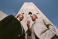 05 Mar 1989, Casablanca, Morocco. French architect Michel Pinseau (R) and president of the BTP group Francis Bouygues (L) during construction of the Hassan II Mosque in Casablanca (the highest of the world with 210m), built by the French industrial group Bouygues. Image by © JP Laffont