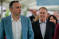 Thursday  29 May 2014, Hay on Wye, UK<br /> Pictured: Former footballing legends Alan Smith and Sir Geoff Hurst at Hay <br /> Re: The Hay Festival, Hay on Wye, Powys, Wales UK.