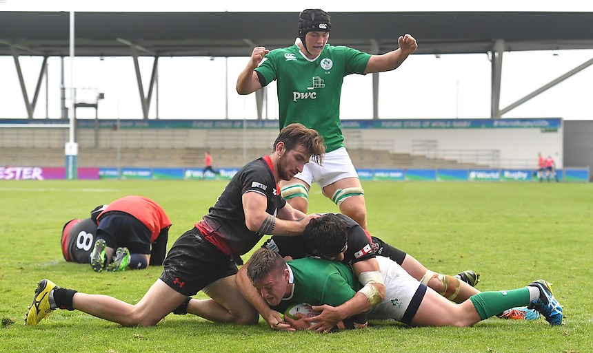 Ireland's Andrew Porter scores his sides 3rd try<br /> <br /> Photographer Dave Howarth/CameraSport<br /> <br /> International Rugby Union - U20 World Rugby Championships 2016 - Pool B - Match 17 - Pool A Ireland U20 v Georgia U20 - Wednesday 15th June 2016 - Manchester City Academy Stadium - Manchester<br /> <br /> World Copyright &copy; 2016 CameraSport. All rights reserved. 43 Linden Ave. Countesthorpe. Leicester. England. LE8 5PG - Tel: +44 (0) 116 277 4147 - admin@camerasport.com - www.camerasport.com<br /> <br /> Photographer Stephen White/CameraSport<br /> <br /> International Rugby Union - U20 World Rugby Championships 2016 - Pool C France U20 v Argentina U20 - Match 1 - Tuesday 07th June 2016 - AJ Bell Stadium - Salford - England<br /> <br /> World Copyright &copy; 2016 CameraSport. All rights reserved. 43 Linden Ave. Countesthorpe. Leicester. England. LE8 5PG - Tel: +44 (0) 116 277 4147 - admin@camerasport.com - www.camerasport.com