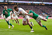 17th March 2018, Twickenham, London, England; NatWest Six Nations rugby, England versus Ireland; Anthony Watson of England is tackled by Rob Kearney of Ireland with a last moment dive