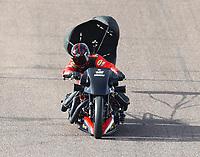 Feb 23, 2018; Chandler, AZ, USA; NHRA nitro harley rider Doug Vancil during qualifying for the Arizona Nationals at Wild Horse Pass Motorsports Park. Mandatory Credit: Mark J. Rebilas-USA TODAY Sports
