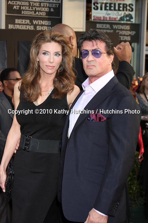 """Sylvester Stallone & Wife Jennifer Flavin.arrives at  the """"Iron Man 2"""" Premiere.El Capitan Theater.Los Angeles, CA.April 26, 2010.©2010 Kathy Hutchins / Hutchins Photo..."""