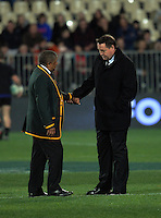 Coaches Allister Coetzee and Steve Hansen chat before The Rugby Championship match between the NZ All Blacks and South Africa Springboks at AMI Stadium in Christchurch, New Zealand on Saturday, 17 September 2016. Photo: Dave Lintott / lintottphoto.co.nz