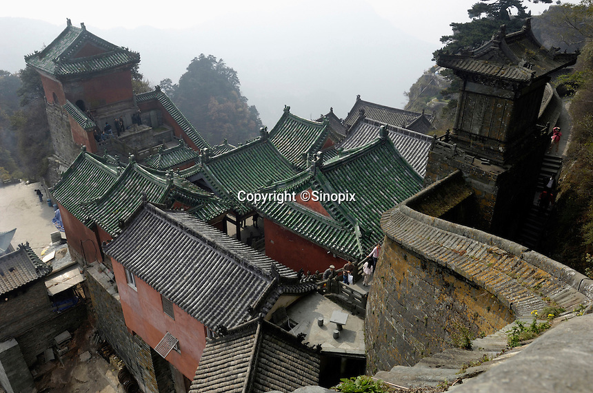 Golden Palace complex, on top of the Tian Zhu Peak of Wudang Mountain, the Taoist Holy Land in Hubei, China, was built in 1416, the Ming Dynasty. The ancient building complex in the Wudang Mountain was listed as the World Culture Heritage by UNESCO in 1994..24 Oct 2007