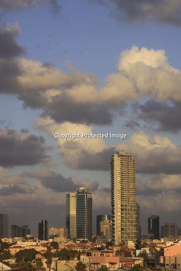 Israel, Tel Aviv-Yafo,  High-rise buildings behind Neve Tzedek neighborhood