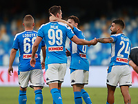 19th July 2020; Stadio San Paolo, Naples, Campania, Italy; Serie A Football, Napoli versus Udinese; Arkadiusz Milik of Napoli celebrates with team mate Insigne after scoring in the 31st  minute for 1-1