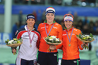 SPEED SKATING: STAVANGER: Sørmarka Arena, 29-01-2016, ISU World Cup, Podium 1000m Ladies Division A, Brittany Bowe (USA), Jorien ter Mors (NED), Marrit Leenstra (NED), ©photo Martin de Jong