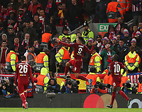 11th March 2020; Anfield, Liverpool, Merseyside, England; UEFA Champions League, Liverpool versus Atletico Madrid; Roberto Firmino of Liverpool celebrates his 94th minute goal