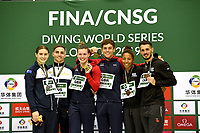 Mixed 3m Synchro Springboard medallists Francois Imbeau - Dulac and Jennifer Abel (Bronze)  Domonic Bedgood and Maddison Keeney (Silver) and Grace Reid and Tom Daley (Gold)<br /> <br /> Photographer Hannah Fountain/CameraSport<br /> <br /> FINA/CNSG Diving World Series 2019 - Day 3 - Sunday 19th May 2019 - London Aquatics Centre - Queen Elizabeth Olympic Park - London<br /> <br /> World Copyright © 2019 CameraSport. All rights reserved. 43 Linden Ave. Countesthorpe. Leicester. England. LE8 5PG - Tel: +44 (0) 116 277 4147 - admin@camerasport.com - www.camerasport.com