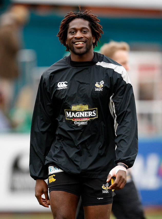 Photo: Richard Lane/Richard Lane Photography..Leicester Tigers v London Wasps. Guinness Premiership. 29/03/2008. Wasps' Paul Sackey during warm up.