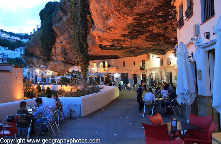 Cafes under rock cave overhang, Setenil de las Bodegas, Cadiz province, Spain