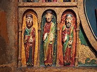 Thirteenth century Romanesque carved and painted altar depicting the Apostles from St. Maria de Taull, Vall de Boi, High Ribagorca, Spain.  National Art Museum of Catalonia, Barcelona. Ref: MNAC 3904