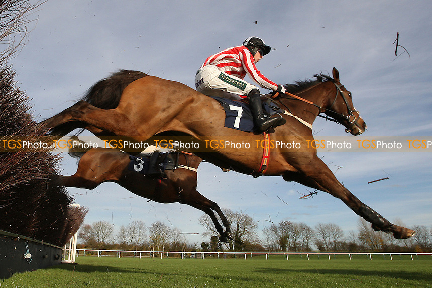 Rif ridden by Killian Moore in jumping action during the TurfTV Novices Handicap Chase - Horse Racing at Huntingdon Racecourse, Brampton, Cambridgeshire - 13/11/12 - MANDATORY CREDIT: Gavin Ellis/TGSPHOTO - Self billing applies where appropriate - 0845 094 6026 - contact@tgsphoto.co.uk - NO UNPAID USE.