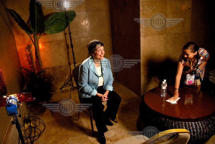 Arizona Governer Janet Napolitano prepares to be interviewed for Mexican TV. Napolitano, who was later nominated to take on the role of Secretary of the Department of Homeland Security in 2009, was in Mexico for the annual Border Governors' Conference.