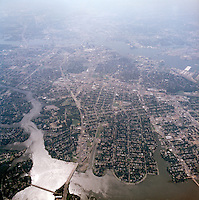 1998 September 05..Aerial..High altitude of census tracts around Elizabeth River in Portsmouth & Norfolk..Gene Woolridge.NEG# 11678 - 52.NRHA#..