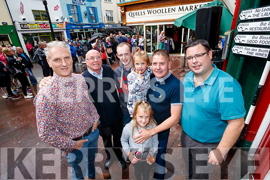 Tony Power, Jimmy Flemming, Conor Courtney, Amy, Dan and Emily McCarthy and Cliff Fee, Killarney at the Busking at the Market Cross in Killarney on Monday.