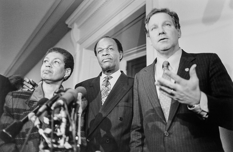 Rep. Eleanor Holmes Norton, R-D.C., Rep. Thomas M. David, R-Va., and Mayor Marion Barry, D-D.C., speaking to press after meeting with GOP members on Feb. 2, 1995. (Photo by Laura Patterson/CQ Roll Call)