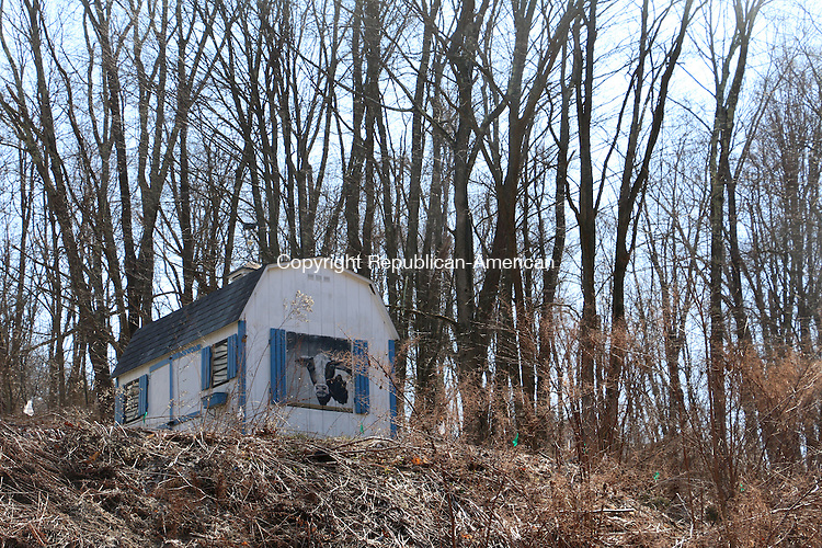 WASHINGTON, CT.  09 March 2016-030916RS02-- - A cow painted on a shed can be seen from Litchfield Road in Washington.