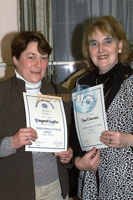 Margaret Hughes and Rose Coleman who received there certificates from Minister Dermot Ahern TD in the Community services centre..Pic Fran Caffrey Newsfile