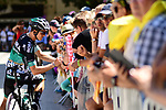 Gregor Muhlberger (AUT) Bora-Hansgrohe with fans at sign on before the start of Stage 14 of the 2018 Tour de France running 188km from Saint-Paul-Trois-Chateaux to Mende, France. 21st July 2018. <br /> Picture: ASO/Alex Broadway | Cyclefile<br /> All photos usage must carry mandatory copyright credit (&copy; Cyclefile | ASO/Alex Broadway)