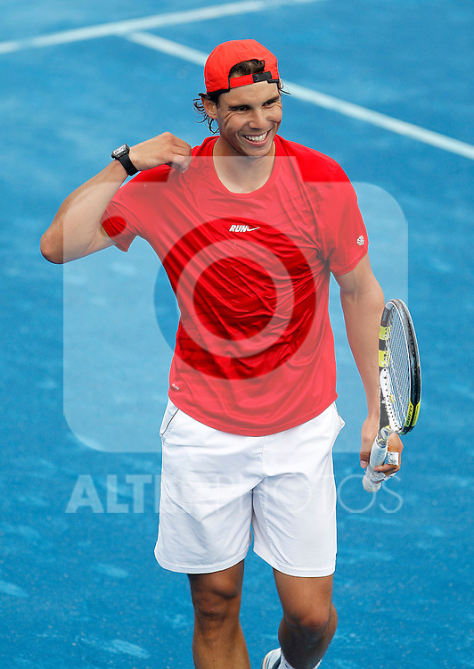 Rafael Nadal in trainig session during Madrid Open Tennis 2012 Match.May, 8, 2012(ALTERPHOTOS/ALFAQUI/Acero)