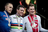 Mads Pedersen (DEN/Trek-Segafredo) surprises the cycling world by becoming the 2019 UCI World Champion<br /> 2nd is Matteo Trentin (ITA/Mitchelton-Scott)<br /> 3rd is Stefan Küng (SUI/Groupama-FDJ)<br /> <br /> Elite Men Road Race from Leeds to Harrogate (shortened to 262km)<br /> 2019 UCI Road World Championships Yorkshire (GBR)<br /> <br /> ©kramon