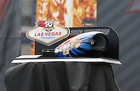 Apr. 6, 2013; Las Vegas, NV, USA: Detailed view of the trophy that will be presented to the winner of the K&N Horsepower Challenge during qualifying for the Summitracing.com Nationals at the Strip at Las Vegas Motor Speedway. Mandatory Credit: Mark J. Rebilas-