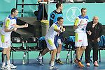 12.01.2013 Barcelona, Spain. IHF men's world championship, Quarter-Final. Picture show slovenian brench   in action during game between Russia vs Slovenia at Palau ST Jordi