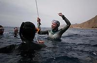 "Freediving competition ""Bizzy Blue Hole"" in Dahab, Sinai, Egypt.  Elisabeth Kristoffersen 65 meter CWF"