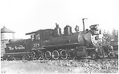 3/4 engineer's-side view of D&amp;RGW #318 at Gunnison.<br /> D&amp;RGW  Gunnison, CO