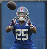 Robert Martin #25, running back, practices during the second day of New York Giants Rookie Minicamp held at Quest Diagnostics Training Center in East Rutherford, NJ on Saturday, May 12, 2018.